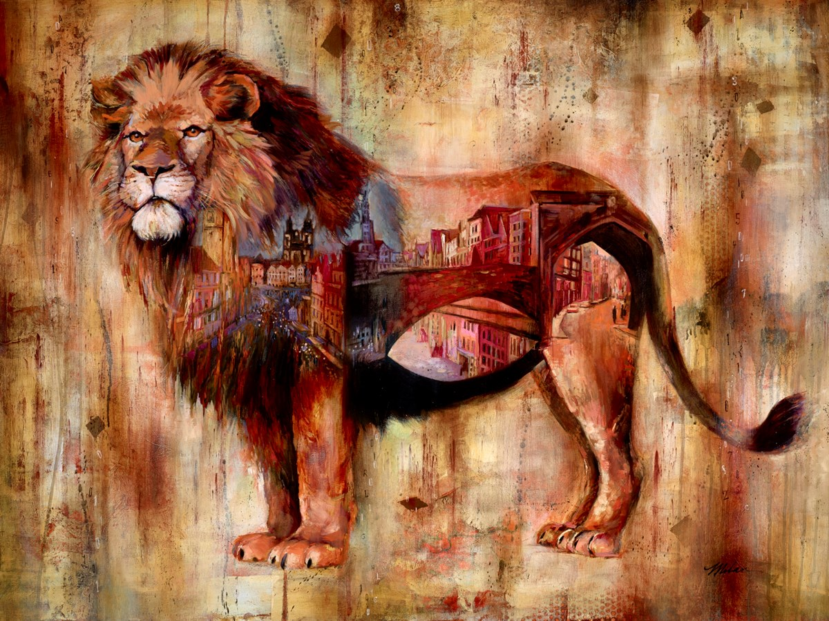 Urban Lion by john and elli milan -  sized 49x37 inches. Available from Whitewall Galleries